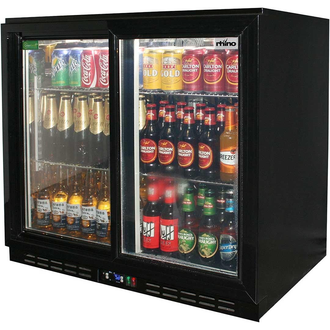 Basement Bar Conceptual Would Need Glass Sliding Doors: Rhino Black Bar Fridge